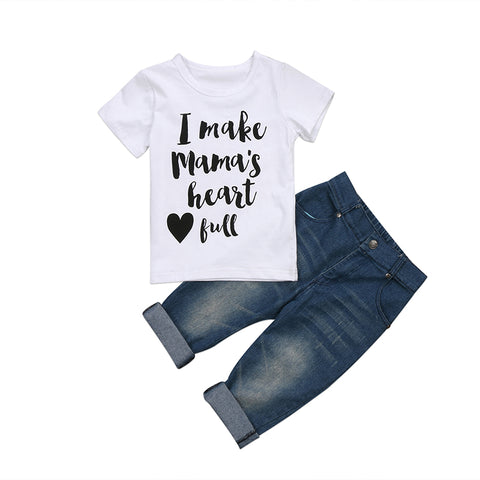 Mama's Heart Top + Faded Jeans