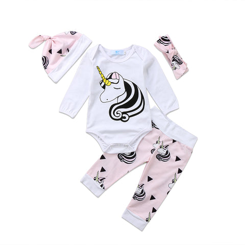 Unicorn Bodysuit + Pants 4pcs Set