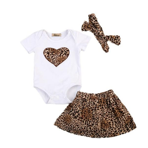 Gia Bodysuit + Leopard Skirt 3pcs Set