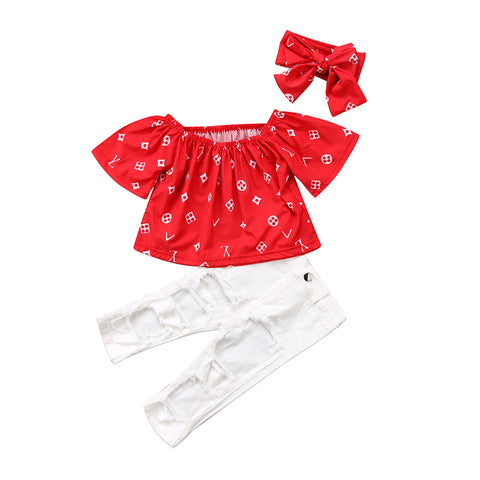 Macey Red Patterned Top + Distressed White Pants 3pcs Set