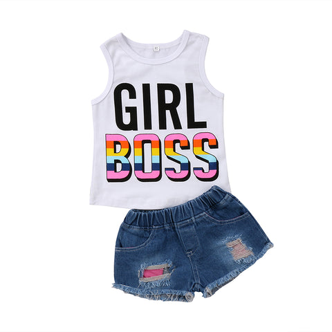 Girl Boss Top + Denim Shorts