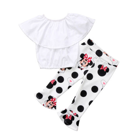White Top And Minnie Mouse Pants Set