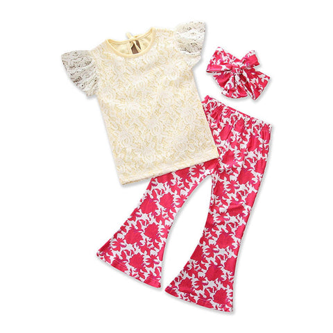Macey Lace Top + Floral Pants 3pcs Set