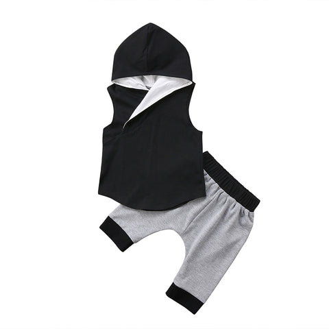 Black Hooded Top +  Shorts