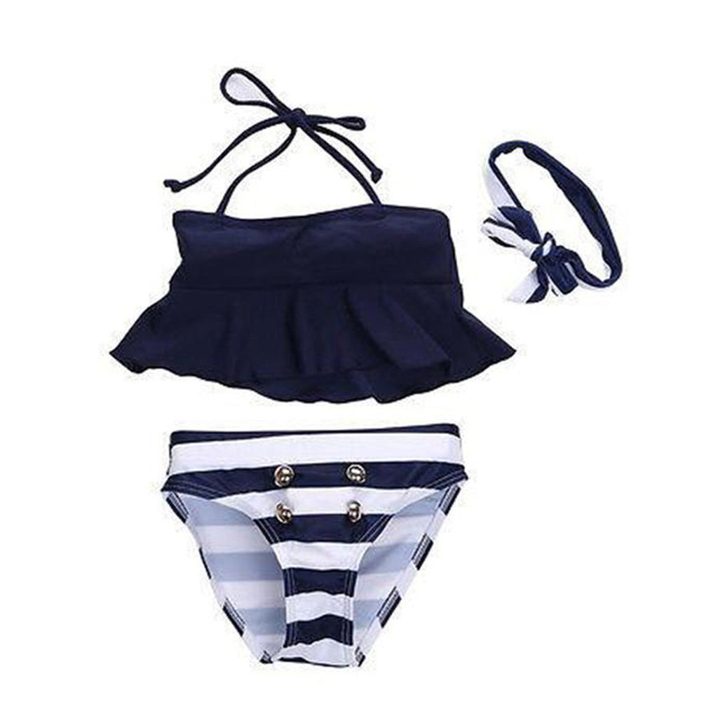 Girls Striped Bathing Suit