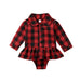 Red Plaid Skirted Romper
