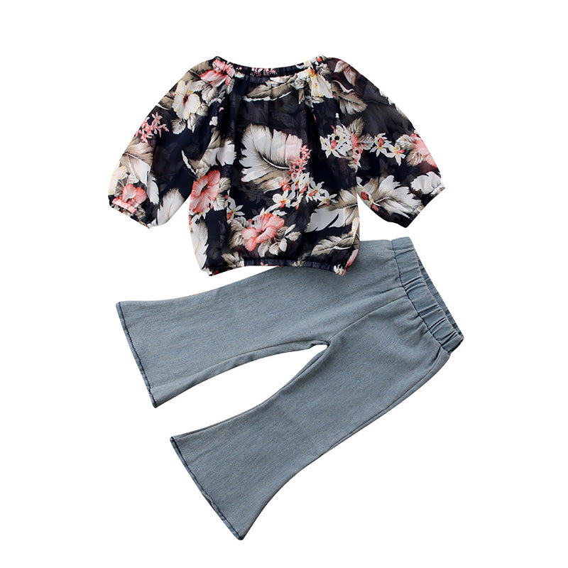 Chiffon Floral Top + Bell Pants
