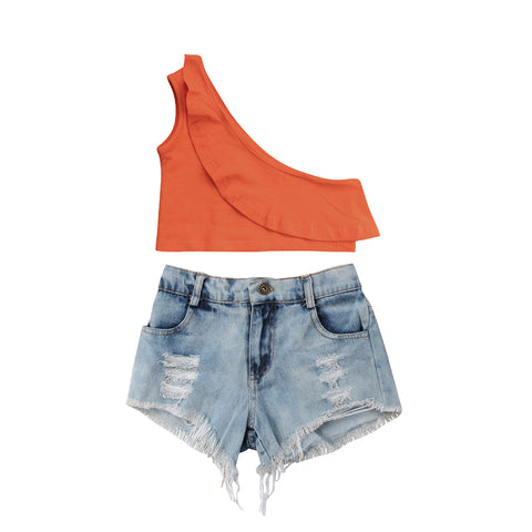 One Shoulder Crop Top + Distressed Shorts