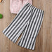 Grace Pink Off Shoulder Top & Striped Wide Pants