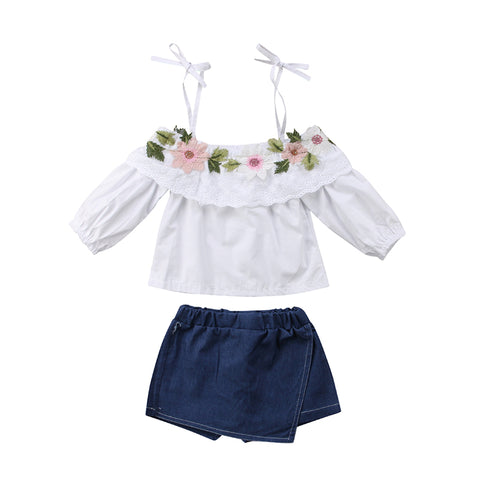Floral Strap Off Shoulder + Denim Skort
