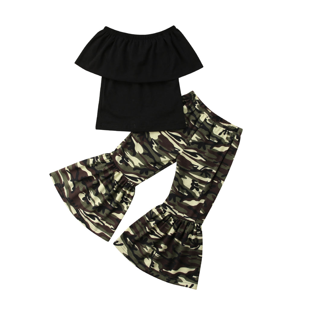 Cape Off Shoulder Top + Camo Bell Pants