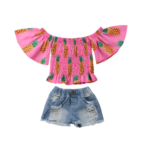 Pineapple Off Shoulder Top + Distressed Shorts