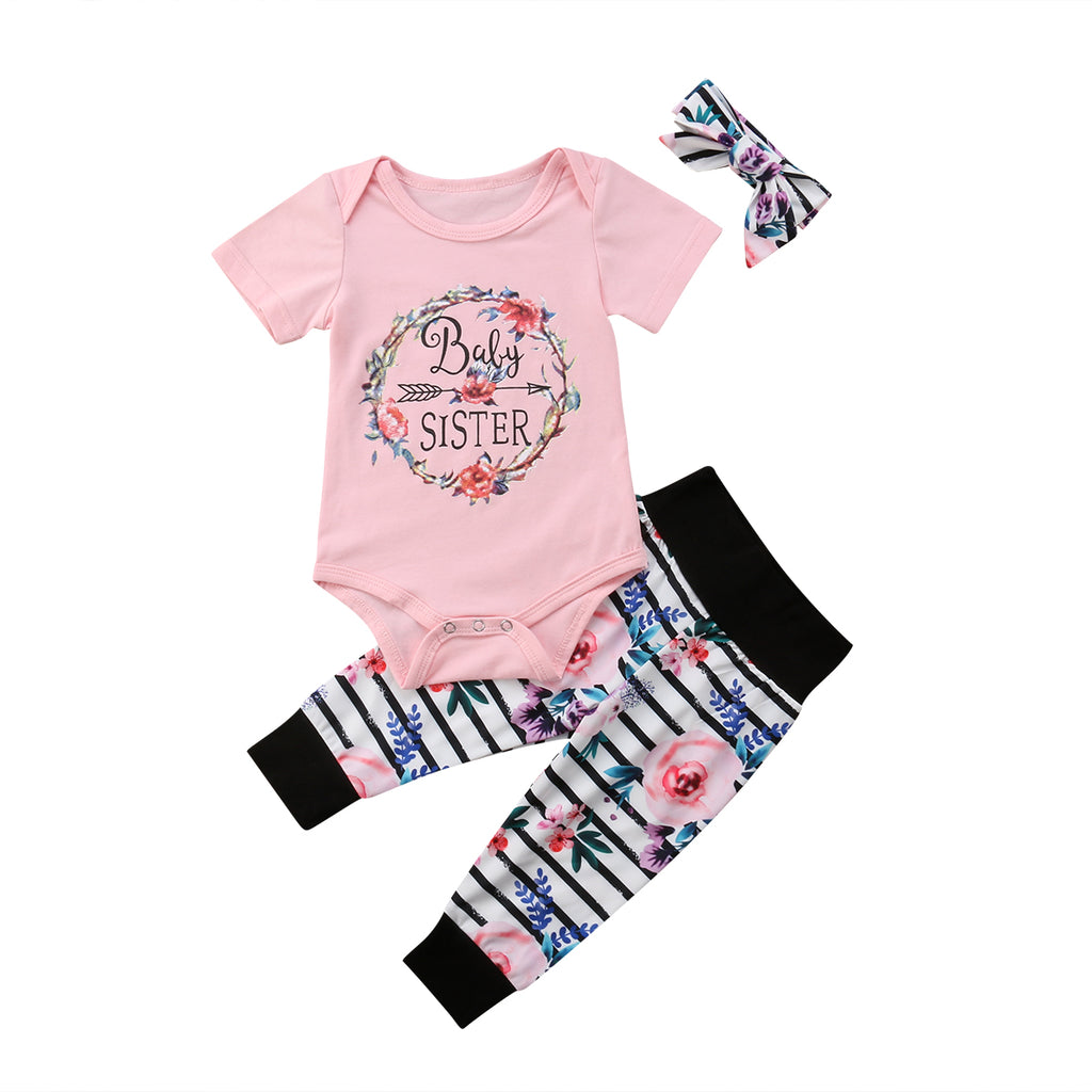 Baby Sister Bodysuit + Pants 3pcs Set