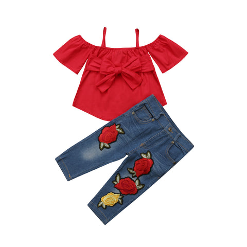 Red Bow Off Shoulder Top + Rose Denim