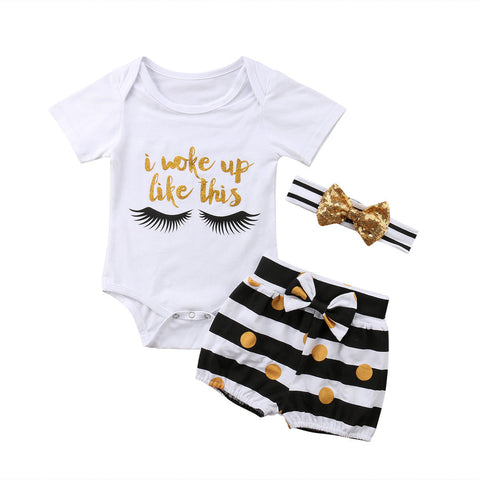 Woke Up Eyelashes Top + Striped Shorts 3pcs Set