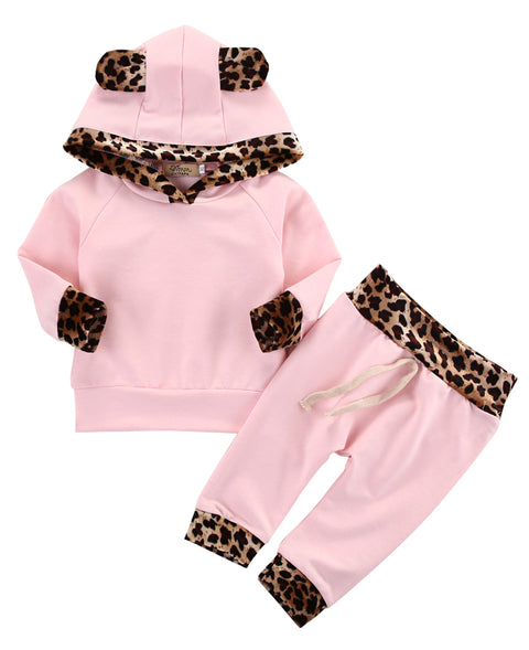 3D Leopard Ear Hooded Top + Pants