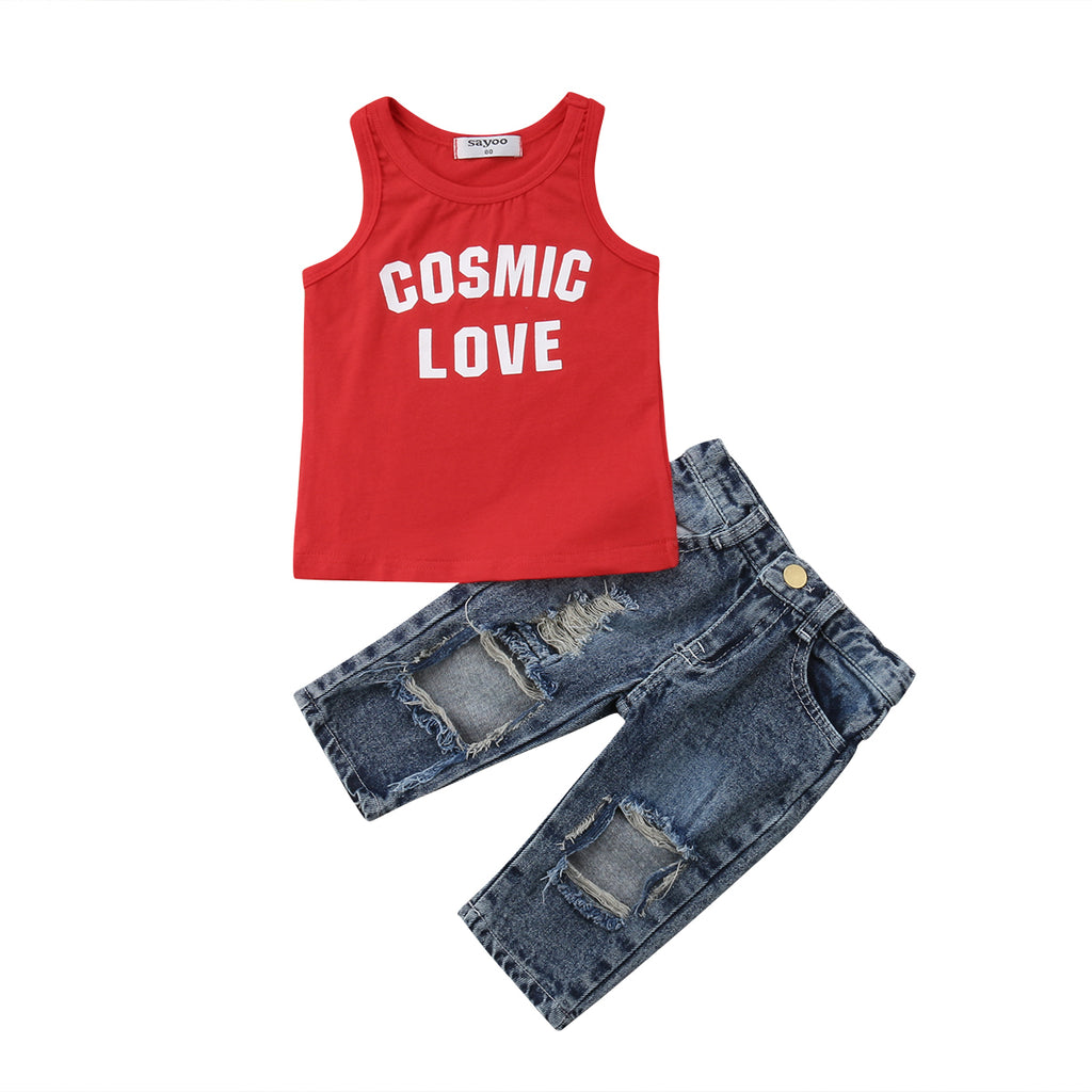 Cosmic Love Top + Distressed Jeans