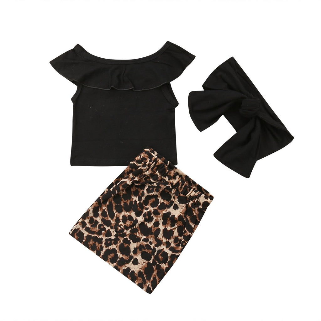 Off Shoulder Top + Cheetah Skirt 3pcs Set