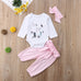 Feather Bunny Bodysuit + Pink Pants 3pcs Set