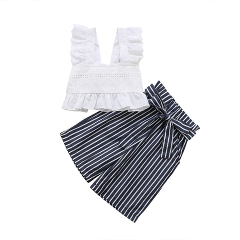 Macy Lace Top + Stripe Pants