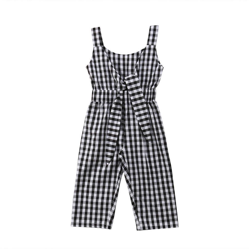 Sleeveless Plaid Bowknot Jumpsuit