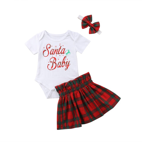 Santa Baby Bodysuit + Plaid Skirt 3pcs Set