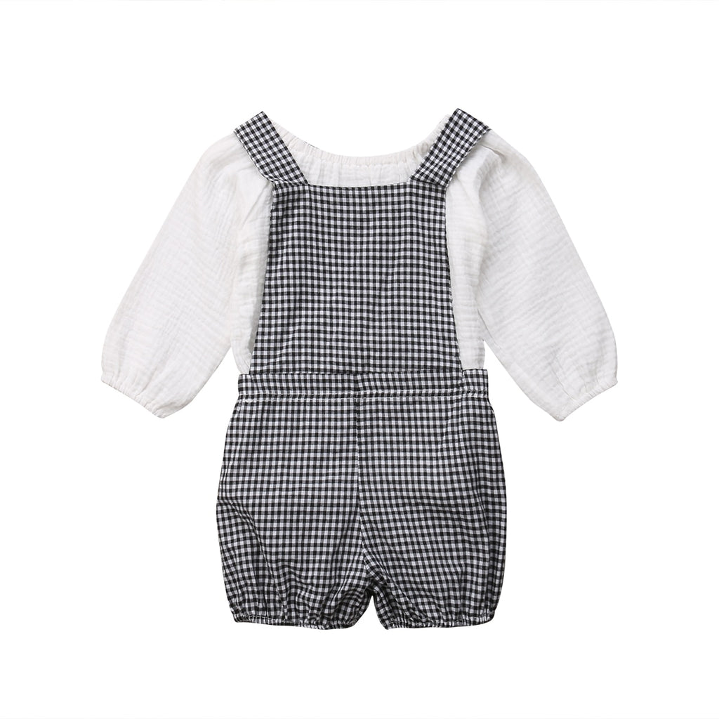 Mias Top & Plaid Overall Jumpsuit