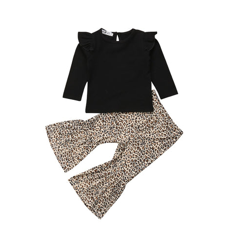Kayla Black Top + Leopard Flared Pants