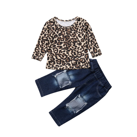 Long Sleeve Leopard Top + Distressed Jeans