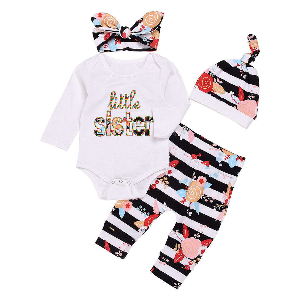 Little Sister Bodysuit + Floral Shorts 4pcs Set