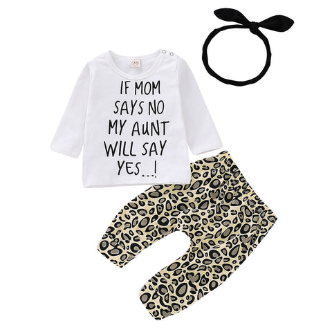 My Aunt Will Say Yes Top + Leopard Pants 3pcs Set
