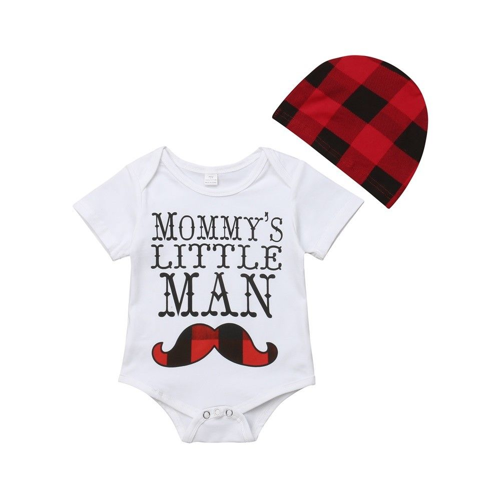 Mommy's Little Man Bodysuit + Plaid Hat
