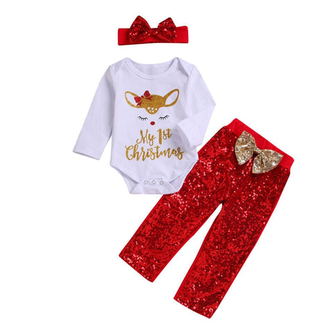 Reindeer Christmas Bodysuit + Bowknot Pants 3pcs Set