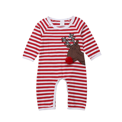 Christmas Deer Striped Jumpsuit