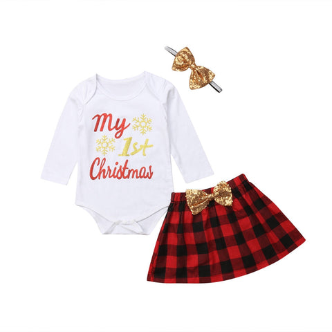 My 1st Christmas Bodysuit + Plaid Skirt 3pcs Set