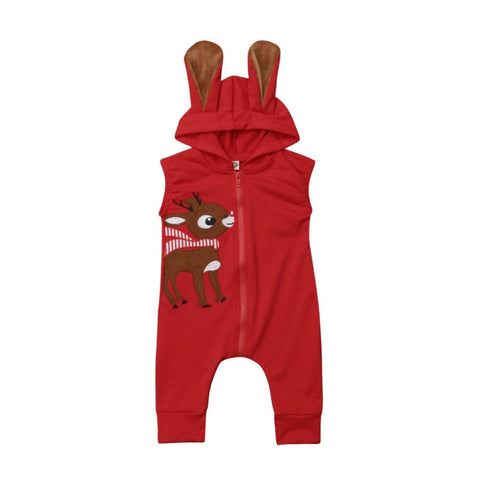 Sleeveless Deer Hooded Jumpsuit