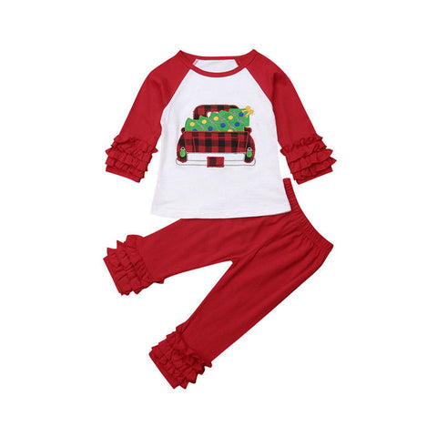 Christmas Tree Truck Top + Ruffled Pants