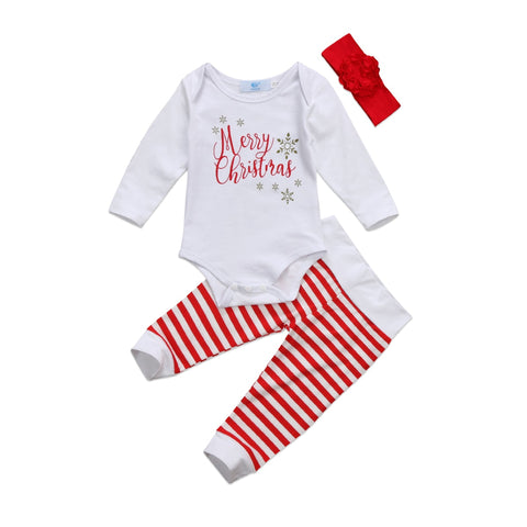 Merry Christmas Bodysuit + Striped Pants 3pcs Set