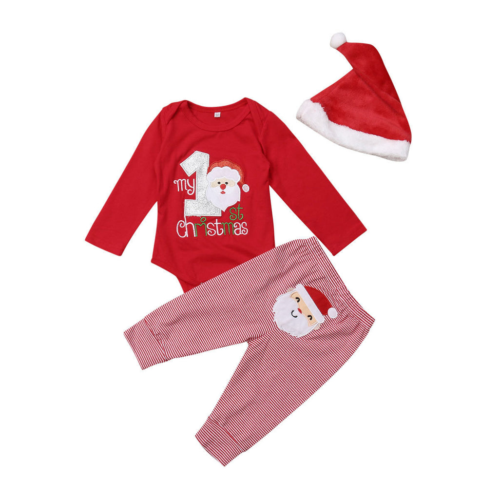 Christmas Bodysuit + Striped Pants 3pcs Set