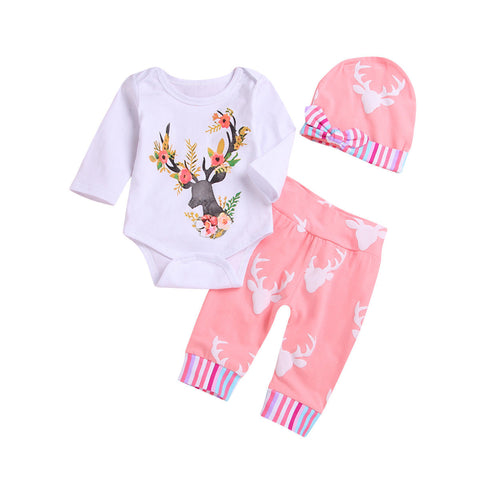 Floral Deer Bodysuit + Pants 3pcs Set