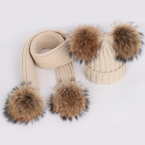 Double Pom Hat & Scarf Set Bundle