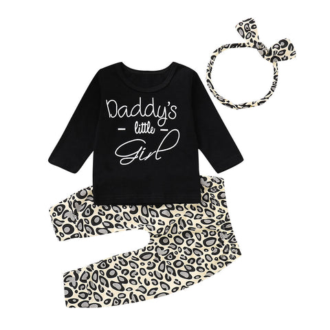 Daddy's Little Girl Top + Leopard Pants 3pcs Set