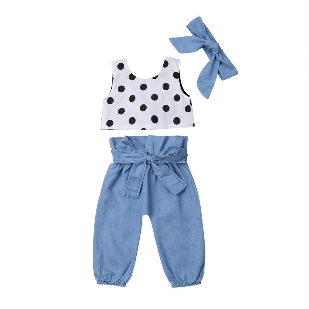 Polka Dot Top + High Waist Bow Pants 3pcs Set