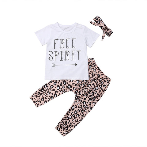 Free Spirit Top + Leopard Pants 3Pcs Set