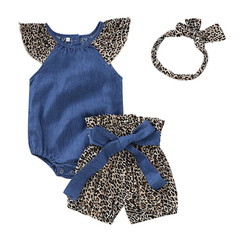 Leopard Denim Romper + Shorts 3pcs Set