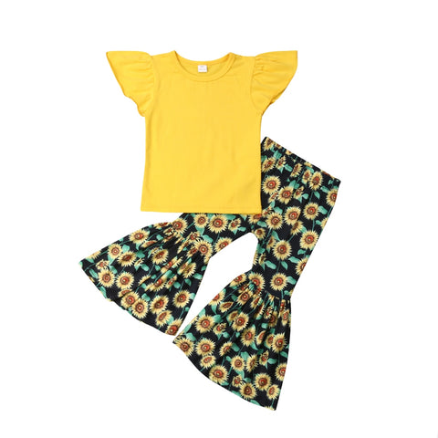 Yellow Ruffle Top + Sunflower Bell Pants