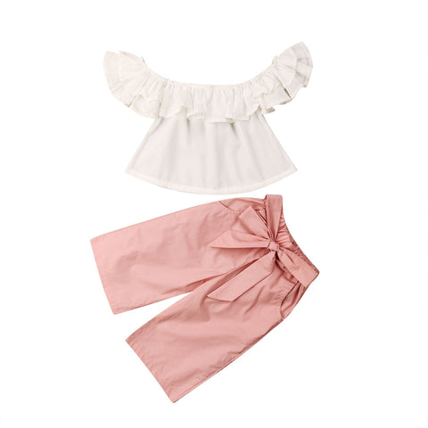 Joyce Off shoulder Top + Pink Bow Pants