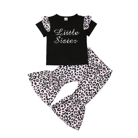 Little Sister Leopard Top + Bell Pants
