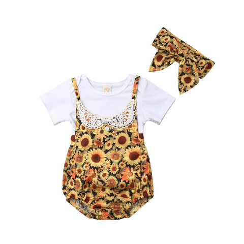 White Top + Sunflower Romper 3pcs Set