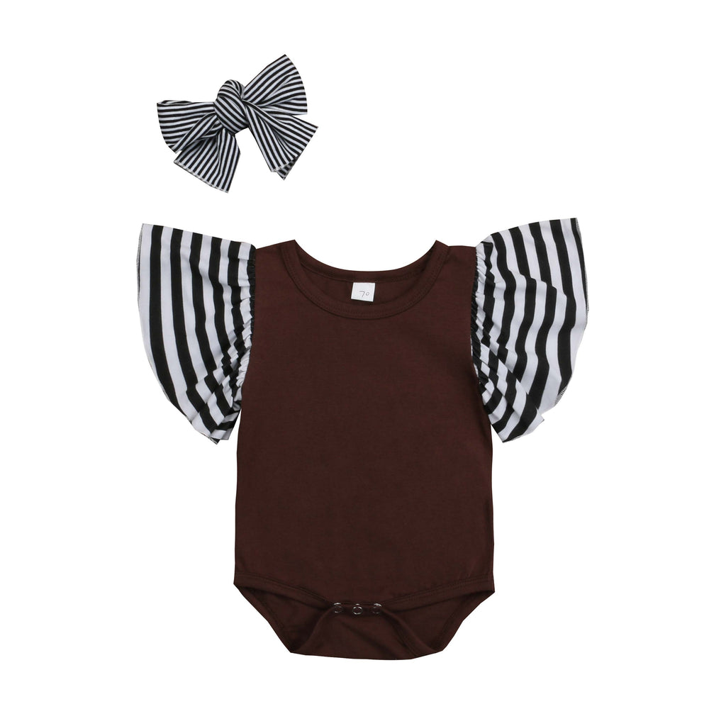 Striped Flare Sleeve Romper + Headband